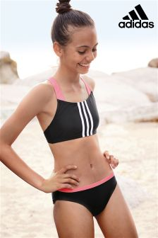 adidas Black/Pink 3 Stripe Bikini