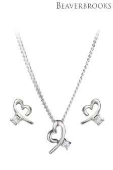 Beaverbrooks Silver Cubic Zirconia Heart Pendant and Earrings Set