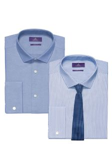 Blue Shirts And Tie Set Two Pack