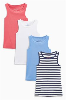 Blue Coral White & Navy Stripe Vests Four Pack (3-16yrs)