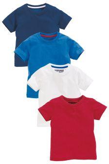 Red Short Sleeve Plain T-Shirt Four Pack (3mths-6yrs)