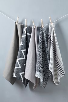 Set Of 5 Grey Geo Design Tea Towels