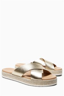Leather Crossover Mule Sandals