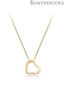 Beaverbrooks 9ct Gold Diamond Set Heart Shaped Pendant