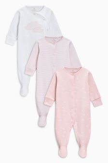 Cloud Print Sleepsuits Three Pack (0mths-2yrs)