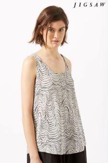 Jigsaw Cream Patella Wave Silk Vest Top