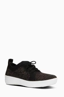 FitFlop™ Black/Bronze Metallic F-Sporty Uberknit Sneaker