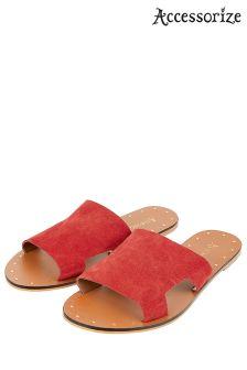 Accessorize Red Ellen Suede Slider Sandal