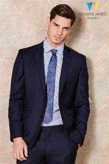 Richard James Tailoring Navy Sharkskin Suit Jacket