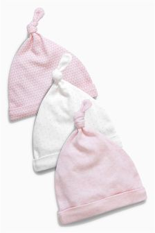 Pink Tie Top Hats Three Pack (0-12mths)