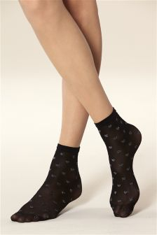 Heart Patterned Ankle Socks