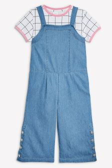 Popper Leg Playsuit With T-Shirt (3-16yrs)