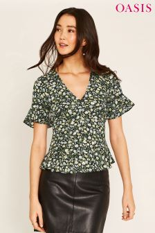 Oasis Black Ditsy Ruched Front Frill Tea Top