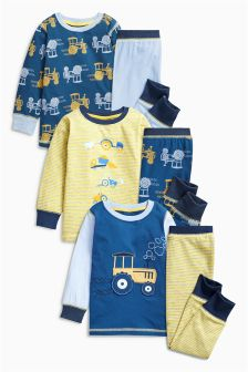 Tractor Pyjamas Three Pack (9mths-8yrs)