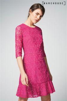 Warehouse Pink Lace Sleeve Peplum Hem Dress