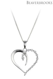 Beaverbrooks Silver Cubic Zirconia Heart Pendant