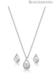 Beaverbrooks 9ct White Gold Cubic Zirconia Pendant And Earrings Set