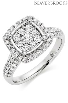 Beaverbrooks 18ct White Gold Diamond Cluster Ring