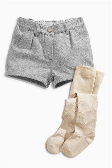 Textured Shorts And Tights Set (3mths-6yrs)