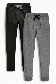 Two Pack Black And Grey Textured Joggers (3-16yrs)