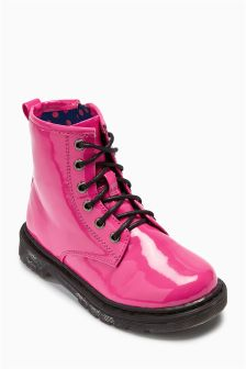 Bright Pink Lace-Up Boots (Younger Girls)
