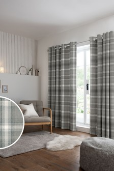 Cosy Check Eyelet Curtains
