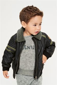 Mock Leather Bomber Jacket (3mths-6yrs)