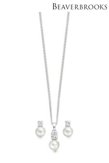 Beaverbrooks Silver Simulated Pearl Pendant And Earrings Set