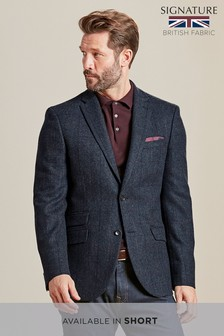 Check British Wool Slim Jacket