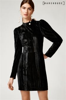 Warehouse Black Velvet Dress