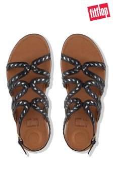 FitFlop™ Black Whipstitch Leather Strata™ Gladiator Sandal