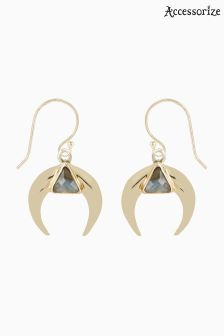 Accessorize Gold Delta Horn Earrings