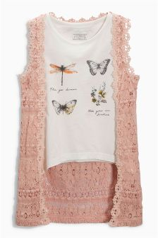 Lace Cardigan And Top (3-16yrs)