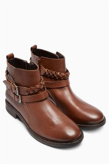 Tan Leather Plait Strap Boots
