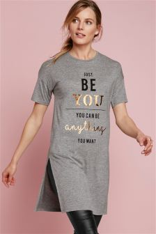 Longline Words Graphic T-Shirt