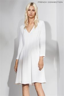 French Connection White Drape Jersey Dress