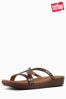 FitFlop™ Espresso Whipstitch Leather Strata Slide Sandal