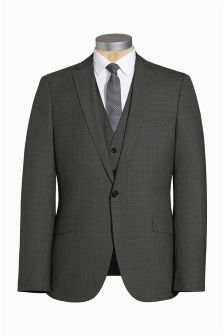Charcoal Grey Textured Slim Fit Suit
