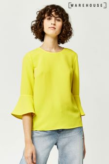 Warehouse Yellow Fluted Sleeve Crinkle Top