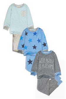 Blue Wide Awake Star Print Pyjamas Three Pack (9mths-8yrs)