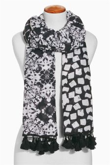 Monochrome Geometric Spliced Printed Scarf