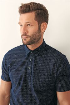 Navy Geometric Print Polo
