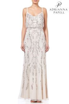 Adrianna Papell White Floral Bead Blouson Gown
