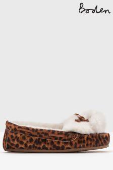 Boden Tan Leopard Pompom Moccasin Slipper