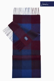 Joules Navy Tytherton Gingham Wool Scarf