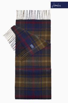 Joules Green Check Tytherton Wool Scarf