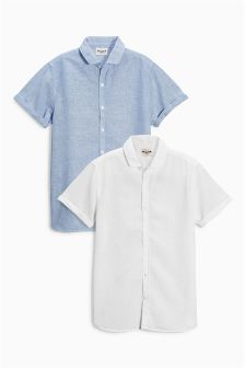 White & Blue Short Sleeve Linen Mix Shirts Two Pack (3-16yrs)
