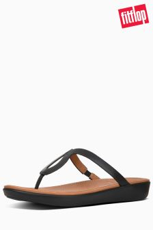 FitFlop™ Black Leather Strata Toe Post Sandal