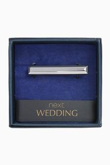 Silver Tone Wedding Tie Clip