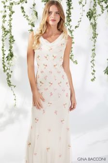 Gina Bacconi Cream Sophia Beaded Maxi Dress